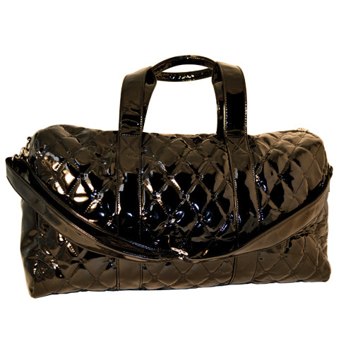 Black Quilted Patent Large Duffle