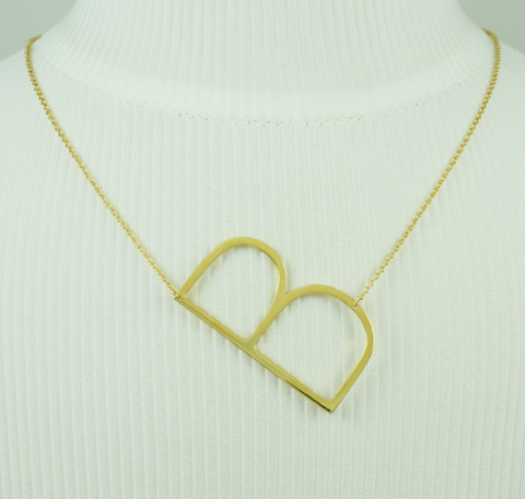 Oversized Sideways Initial Necklace- Gold and Silver