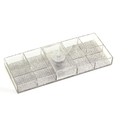 Lucite Silver Shimmer Simanim Tray
