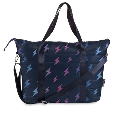 Navy Puffer Tote Bag W/ Lightning Bolts