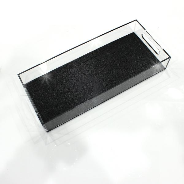 Black Glitter Lucite Bread Tray