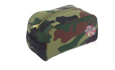Camo Seersucker Toiletry Bag W/ Gold Zipper