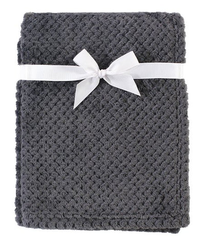 Blue, Gray and White Plush Waffle Blanket
