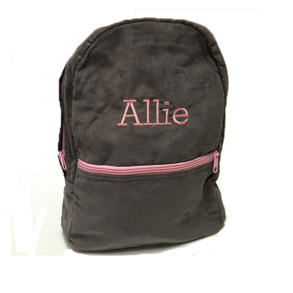 Gray Corduroy Backpack with Pink