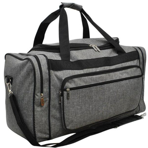 Gray Crosshatch Duffle Bag