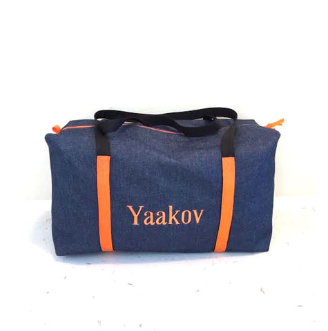 Boys Large Denim Duffle with Orange Trim
