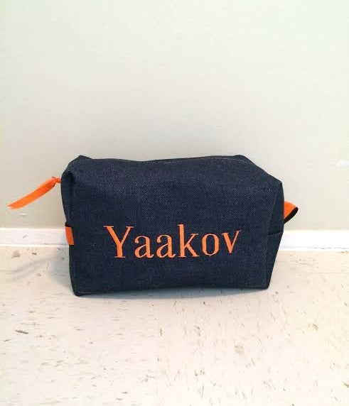 Denim with Orange Toiletry Bag