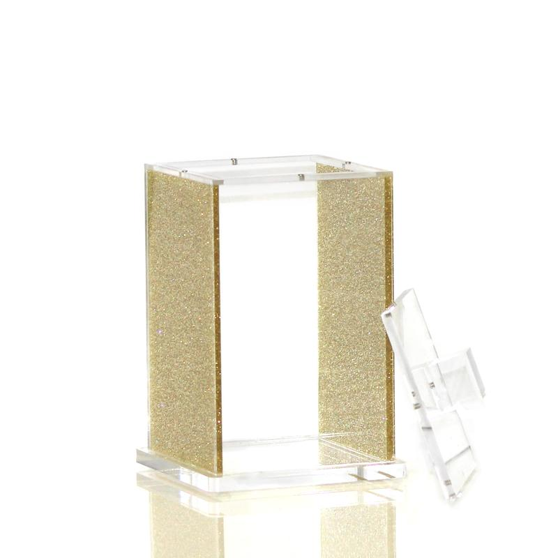 Small Gold Glitter Lucite Canister