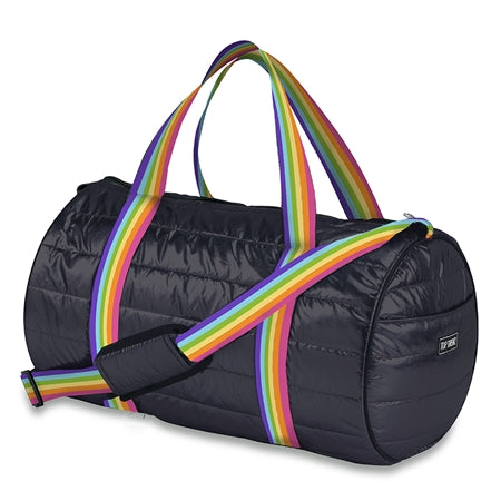 Black Puffer Duffle With Rainbow Stripes