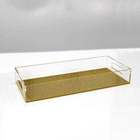 Gold Sparkle Lucite Bread Tray