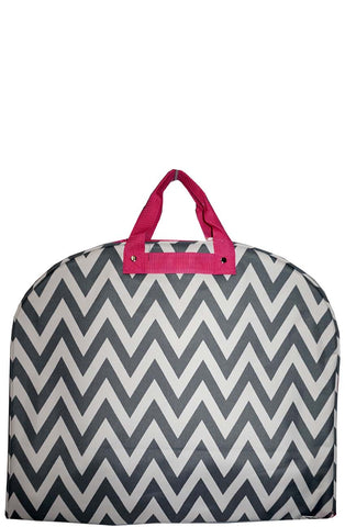Gray and Hot Pink Chevron Garment Bag