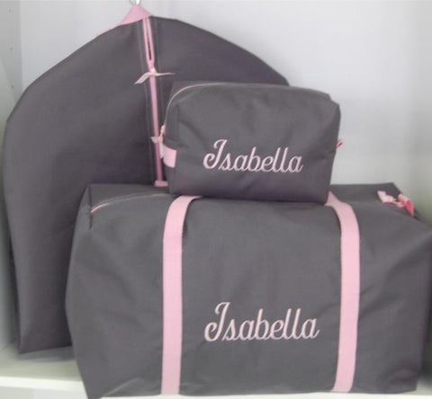Girls Large Gray and Light Pink Duffle