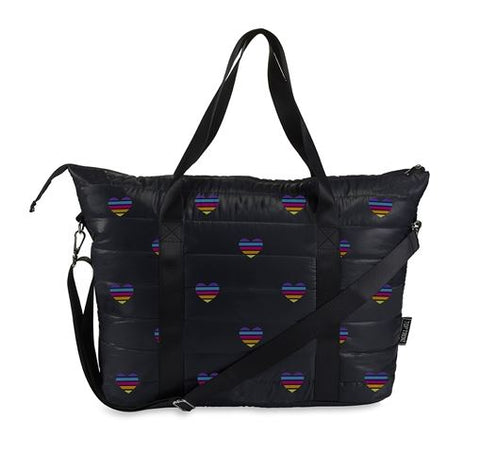Black Puffer Tote w/ Rainbow Hearts