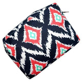 Navy and Red Ikat Toiletry Bag