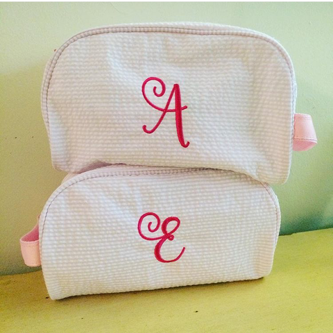 Pink Seersucker Toiletry Bag