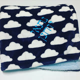 Navy Clouds Minky Blanket