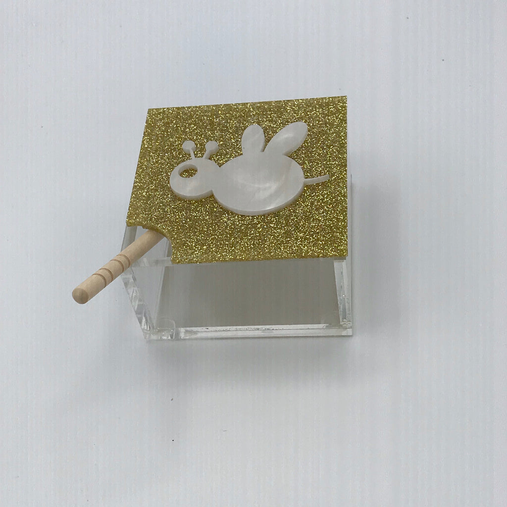 Gold Glitter with Marble Bee Honey Jar
