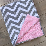 Gray and Pink Chevron Minky Blanket