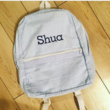 Light Blue Seersucker Backpack