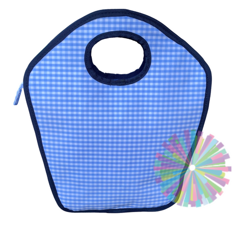 Blue Gingham with Navy Trim Vinyl Keyhole Bag