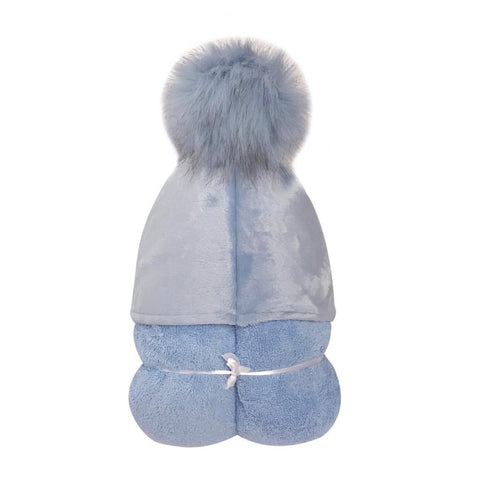 Blue Pom-Pom Hooded Toddler Towel