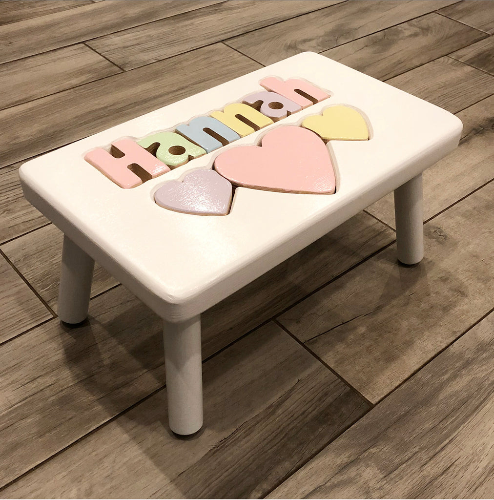 White Hearts Step Stool