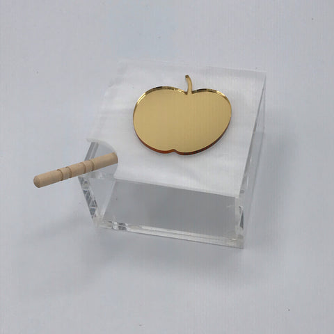 White Marble with Gold Mirror Apple Honey Jar