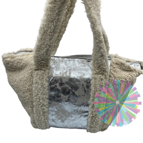 Sherpa and Silver Tote