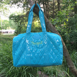 Turquoise Quilted Patent Large Duffle