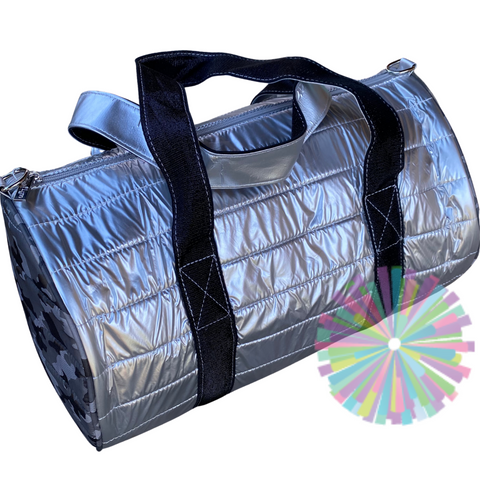 Silver and Camo Puffer Duffle