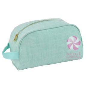 Mint Chambray Toiletry Bag