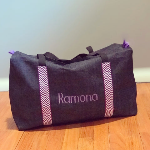 Girls Large Denim and Purple Chevron Duffle