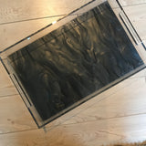Large Black Marble Tray with Handles