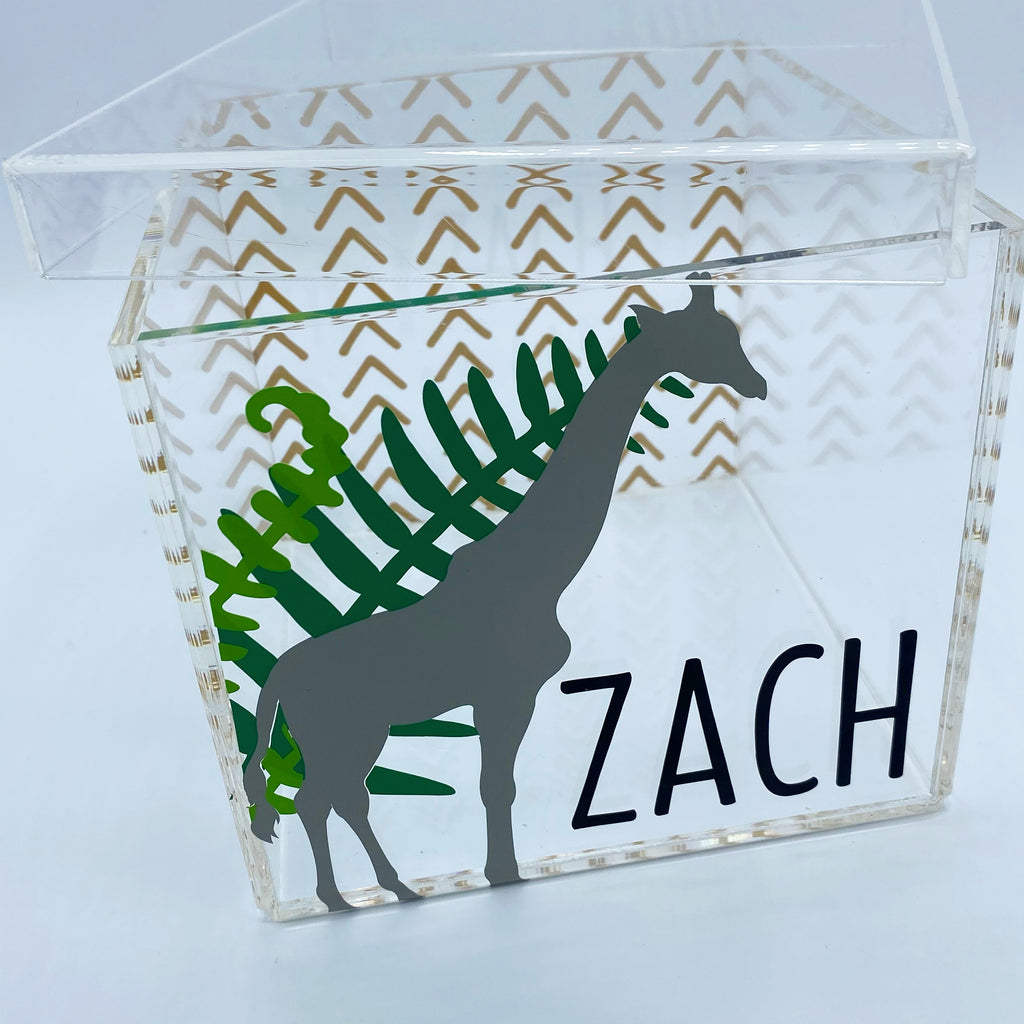 Neutral Giraffe Lucite Box