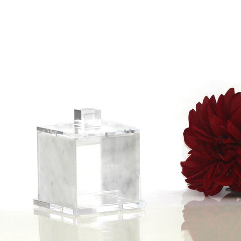 Small White Marble Lucite Canister