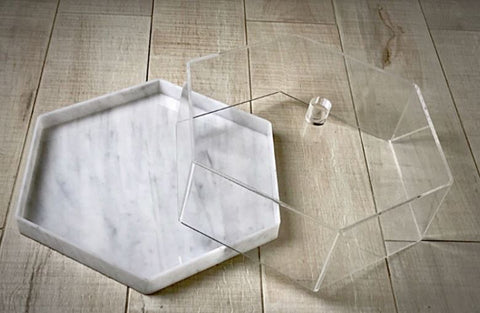 Marble Hexagon Lucite Cake Display