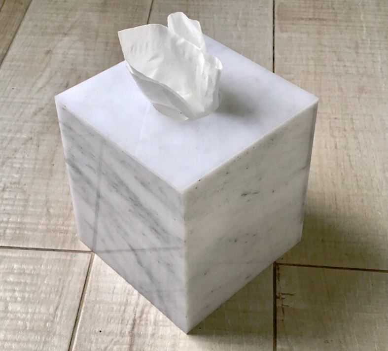 Marble Lucite Square Tissue Box Cover