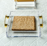 Matzah Tray With Gold Handles