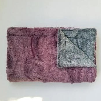Mauve and Gray Luxe Minky Blanket