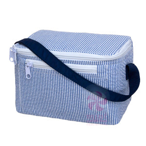 Navy Seersucker Bucket Lunchbox