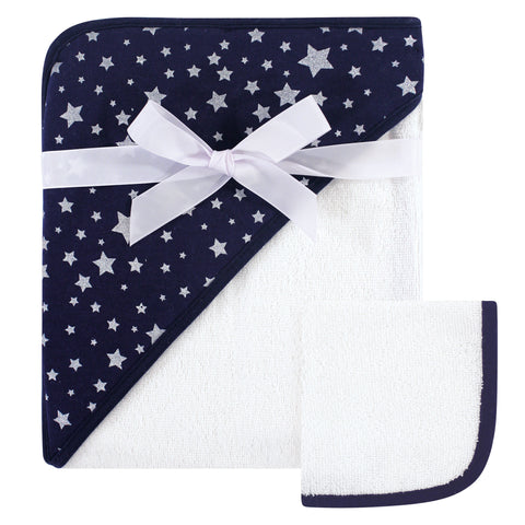 Infant Navy Star Hooded Towel and Washcloth Set