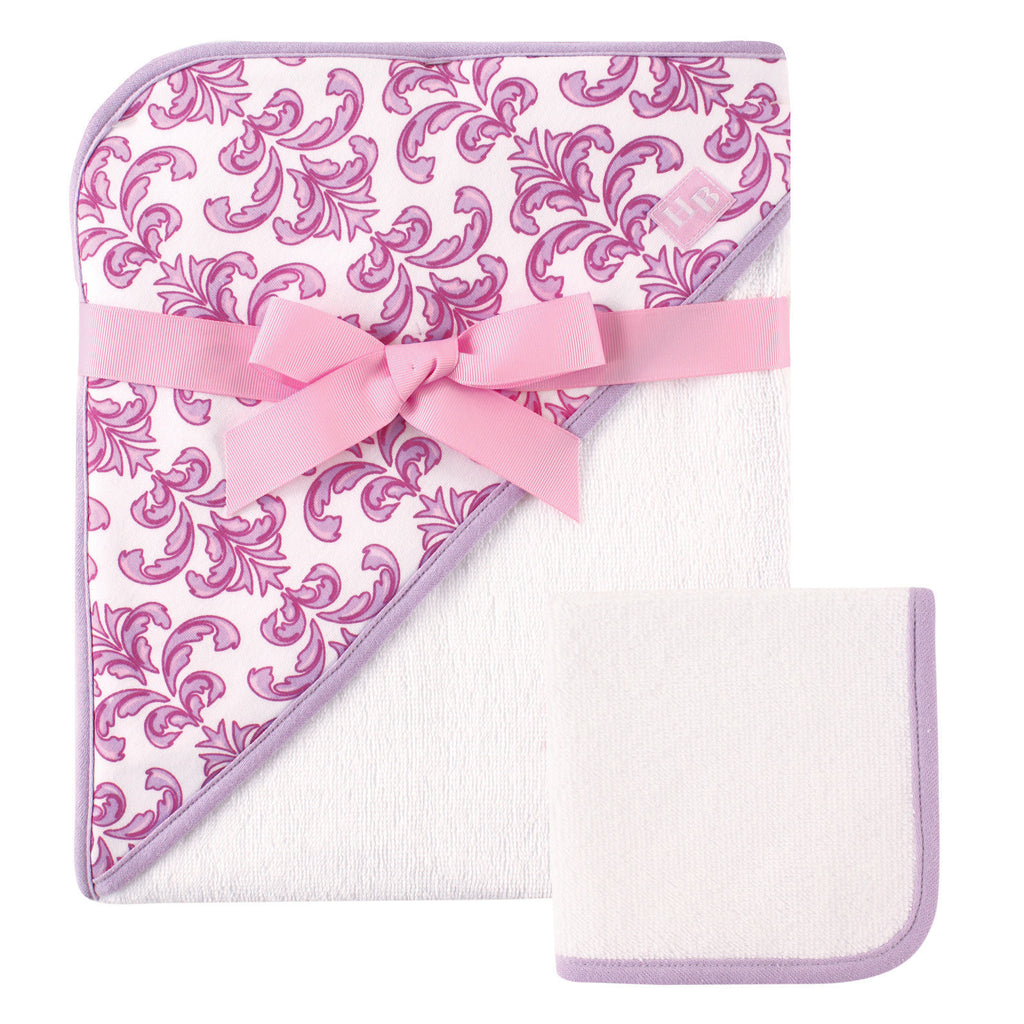 Floral Hooded Towel and Washcloth Set