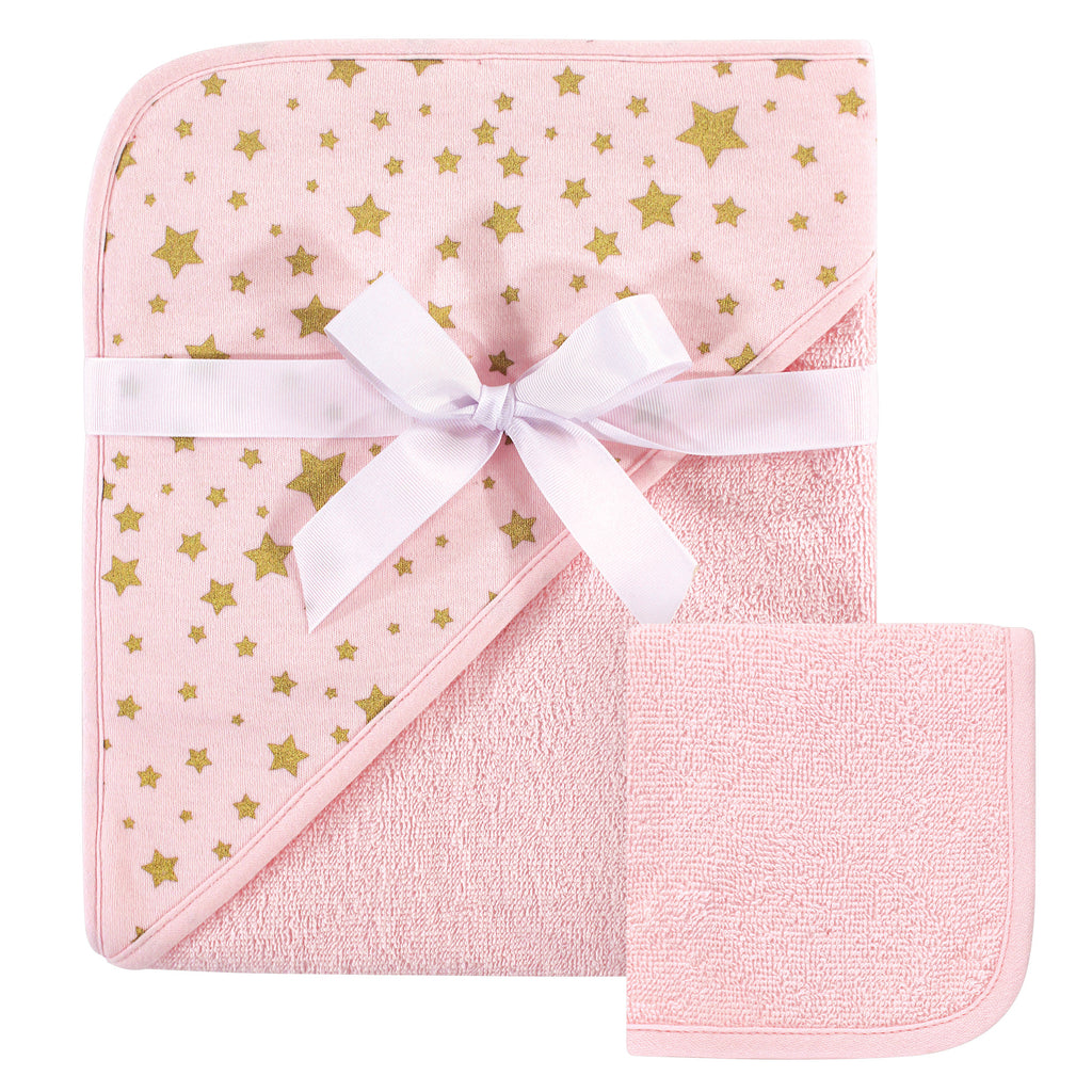 Infant Pink and Gold Stars Hooded Towel and Washcloth Set