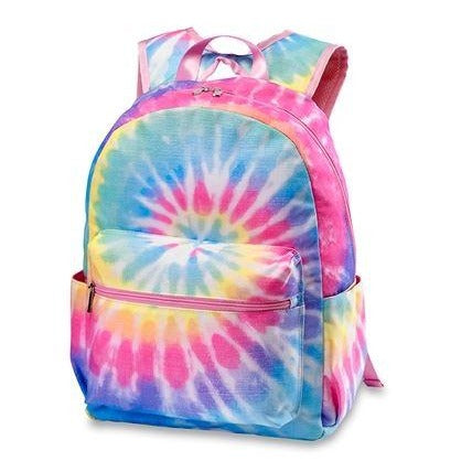 Pastel Tie Dye Backpack With Pink Zippers