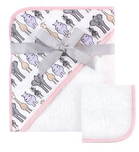 Infant Pink Safari Hooded Towel and Washcloth Set