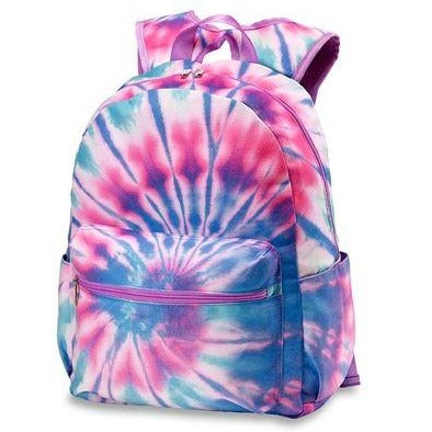 Pastel Tie Dye Backpack With Purple Zippers