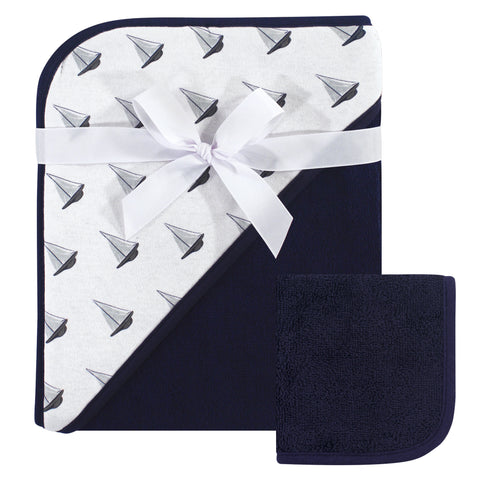 Infant Navy Sailboats Hooded Towel and Washcloth Set