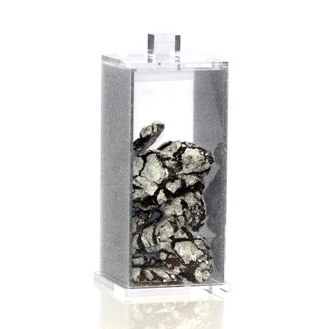 Small Silver Glitter Lucite Canister