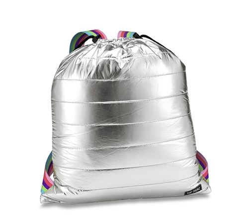 Iridescent Metallic Puffer Sling Backpack Bag w/ colorful straps