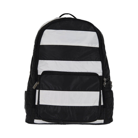 Black and White Stripe Puffer Backpack